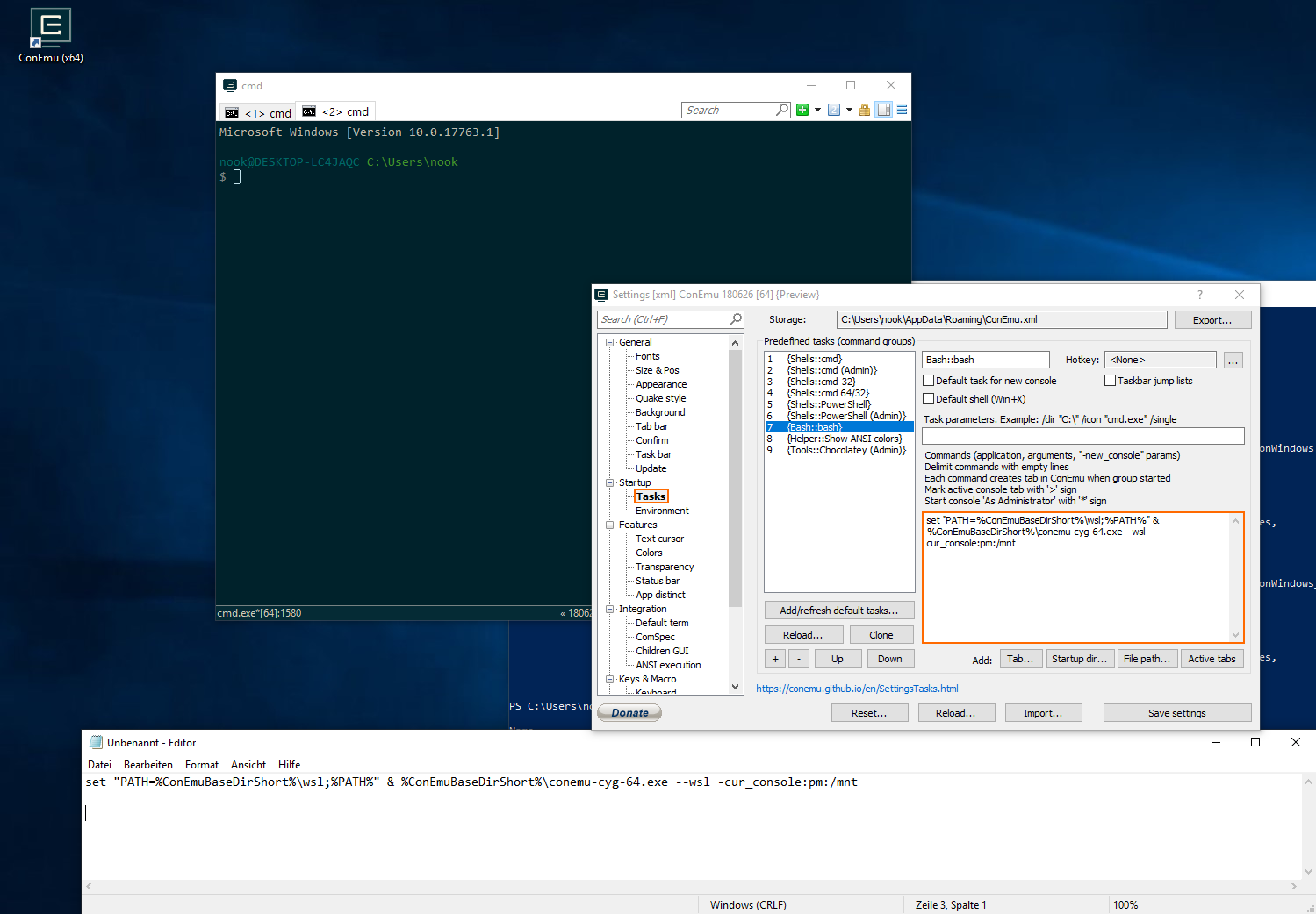 ConEmu setup WSL Bridge