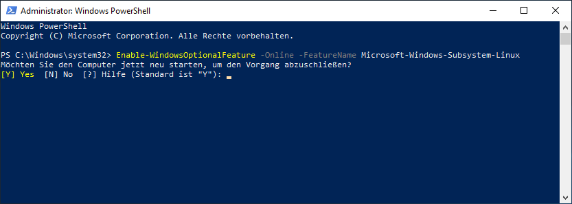 Windows 10 Installation von WSL