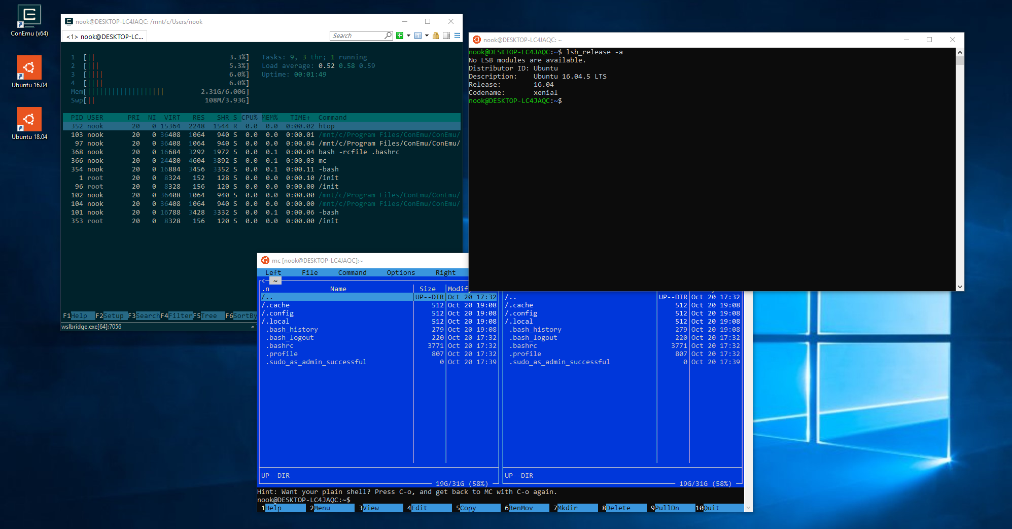 Windows 10 Subsystem for Linux WSL mit ConEmu
