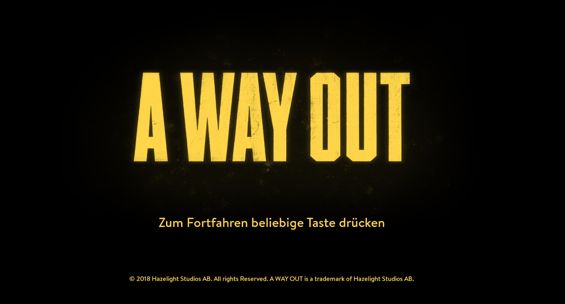 A Way Out - Startbildschirm